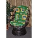 Ratanové houpací křeslo Swivel hnědé zelený polstr