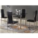 Jídelní stůl, černé sklo + chromovaná ocel, NANETA