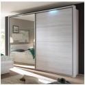 Skříň s posuvnými dveřmi a zrcadlem, dub bílý / bílá, KENTUCKY