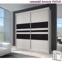 Dvoudveřová skříň, 203x218, s posuvnými dveřmi, bílá/bílá/černé sklo, MULTI 11