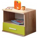 Noční stolek, jednozásuvkový, dub sonoma / zelený, EMIO Typ 05
