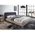Manželská postel s roštem, 160x200, Látka / MDF, šedá / dub sonoma, LORAN