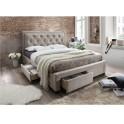 Manželská postel s roštem, 160x200, látka šedohnědá, OREA