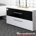 Noční stolek, bílá / černý lesk HG, DEVON NEW