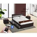 Moderní postel s Bluetooth reproduktory a RGB LED osvětlením, černá, 160x200, Fabala