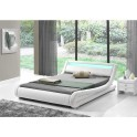 Moderní postel s RGB LED osvětlením, bílá, 160x200, FILIDA