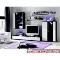 Obývací stěna, s LED osvětlením, bílá/černá extra vysoký lesk HG, CANES NEW