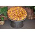 Ratanový papasan wicker hnědý polstr okrový